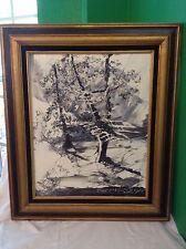 Listed Artist Oil On Board Lg Black/White Winter Scene Painting~Morris Katz 1978