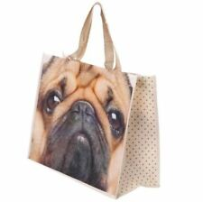 Pug Dog Cute Folding Reusable Shopping/Grocery Bag - Non Woven Tote Shopper Bag