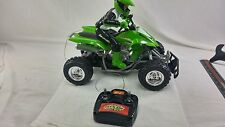R C Fast lane Vtg remote controlled car,ATV w/ moveable rider,green Kawasaki EUC