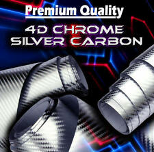 1520mm x 500mm Chrome Silver 4D Carbon Fibre Vinyl Car Wrap Sticker Air Drain