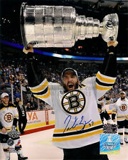 Patrice Bergeron Boston Bruins signed autographed raising Stanley Cup 8x10
