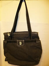 Fubu The Collection Tote Hand bag Purse Since 1992 Dark Gray & Black Canvas