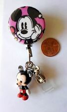Vera Bradley Mickey Mouse Fabric Button Retractable Reel with ID Badge Holder