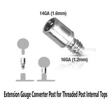 1PC. 14G~316L Steel Dermal Anchor Extension Converter Threaded Post Internal Top