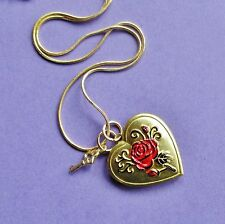 LOVE HEART SWEETHEART LOCKET GOLD NECKLACE RED ROSE VALENTINE KEY LOCK OPENS