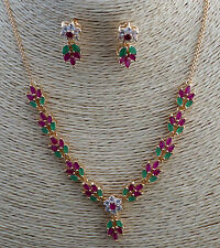 112CT TOP CLASS NATURAL RUBY& GREEN EMERALD NECKLACE & EARRINGS JEWELRY SET