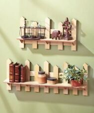 Set Of Two Wooden Fence Shelves Natural Traditional Picket Fence Wall Decor