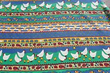 Vintage Chicken Cotton Fabric, Country Farm Chic Sewing Quilting Material, 3 yar