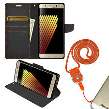 Wallet Id Card Flip Folio Case Neck Lanyard Combo For Samsung GALAXY Note7 N930