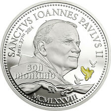 CANONIZATION OF POPE JOHN PAUL II Religious People Silver Coin 2014 Cook Islands