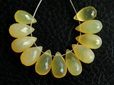 Natural Australian Yellow Opal Faceted Teardrop Briolette Gemstone Beads