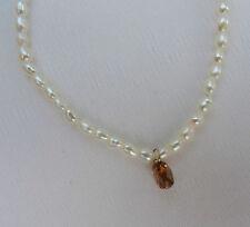 Süßwasserperlen Kette mit Diamant Pampel 0,55 Karat Halskette Collier 3510