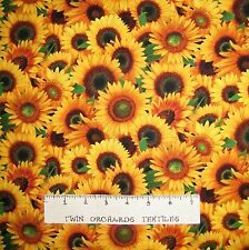 Floral Fabric - Packed Sunflowers Harvest Fall - Elizabeth's Studio YARD