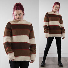 VINTAGE STRIPED GRUNGE KNIT CREW NECK JUMPER OVERSIZE WOOL 90'S CASUAL 12