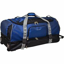 "Protege 36"" Drop-Bottom Rolling Duffel Bag Carry For Travel, Blue with Black"