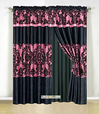 4Pc Silky Satin Flocking Damask Striped Curtain Set Hot Pink Black Valance Drape