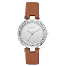 NEW Skagen Women's SKW2458 'Tanja' Silver Tone  Crystal Brown Leather Watch