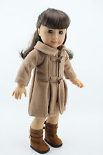 Doll Cloth Fit 18 inch American Girl Doll Camel Woolen Coat Outfit
