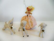 1940'S BAPS DOLLS  LITTLE BOW PEEP AND HER THREE SHEEP FAIRY TALE FIGURES