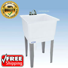 Freestanding Utility Sink Wash Bowl Basin Single Faucet Laundry Floor Mount Tub