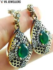 Turkish Traditional Jewelry 925 silver Handmade Antique Emerald Earrings E2970