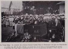 1930  --  CONGO  GARE DE LEOPOLDVILLE  CERCUEILS AVIATEURS CAILLOL ROUX DODEMENT