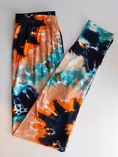 Leggings Plus TC Tall and Curvy 1X 2X 12-18 Orange Blue Tie Dye Buttery Soft