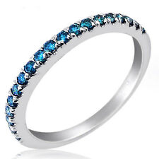 0.32CT FANCY BLUE ROUND CUT DIAMOND WEDDING BAND 10K WHITE GOLD (19 STONES)