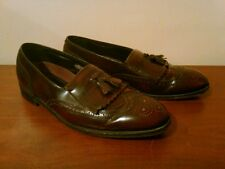 Vintage Florsheim Leather Tassel Kiltie Slip On Wingtip Loafers, 11D India
