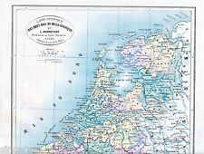 Nederland Belgique 1875 orig. frz. Atlaskarte Luxembourg Namur Liège Hollande NL