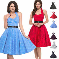 Women's Floral 50's Vintage Retro Swing Jive Prom Party Evening Dress