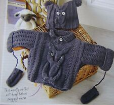 BABY OWL~SWEATER/ HAT/MITTS~ KNITTING  PATTERN SIZE 3-12 MTHS (Hand knits )