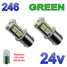 2 x Green 24v LED BA15s 246 R10W 13 SMD Number Plate Interior Bulbs HGV Truck