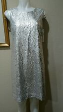DKNY Silver Foiled Lace Size SMALL Shift Cocktail Dress NWT $295 Best Price ebay