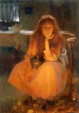 Hand painted Oil painting Arthur Hacker Fire fancies Young girl cat by fireplace