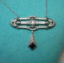 Art Deco Necklace Platinum Sapphire Diamond Belle Epoque Wedding Jewelry