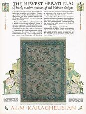 1920's BIG Vintage A M Karagheusian Rug Co. Chinese Rugs Art Print Ad c