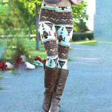 Womens Santa Snowman Christmas Skinny Trouser Xmas Leggings Long Pants Jegging