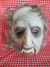 VTG 90s Halloween Mask Old Vampire with Hair Half Face NOS
