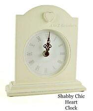 SHABBY CHIC HEART FRENCH VINTAGE STYLE CREAM MANTEL CLOCK HOME CHRISTMAS GIFT