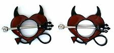 Nipple Ring Shield Piercing Jewelry Devil Horns Pitchfork 14 gauge sold as pair