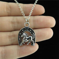 "18"" Chain Alloy Collar Short Necklace Silver Animal Luck Horse Horseshoe Pendant"