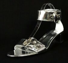 GUCCI $550 Metallic Silver Leather ROMY Ankle Strap Sandals 9
