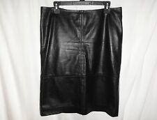 TALBOTS Size 10 Skirt Black 100% Leather Lined Pencil Straight