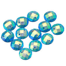 150x Wholesale Charms Blue Flatback Faced Sew On Resin Buttons Beads 8mm 24783