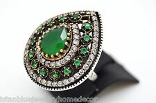 HURREM SULTAN EMERALD TOPAZ TEAR DROP STERLING SILVER BRONZE WOMEN RING SIZE 7.5