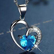 XMAS SALE GIFTS FOR HER - Love Blue Crystal Heart Necklace Women Girls Wife K7