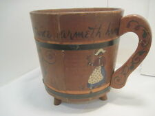 OLD WOOD-WOODEN PAIL BUCKET CUP SHAPE HAND PAINTED