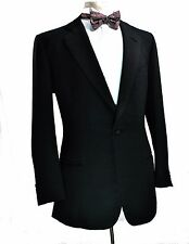 Bespoke Fallan & Harvey Savile Row Slub Weave Tuxedo Jacket 38R Working Cuffs