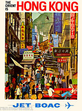 Hong Kong China Chinese Orient Airplane Vintage Travel Art Poster Advertisement